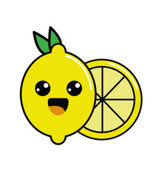 color kawaii happy lemon icon vector image vector image