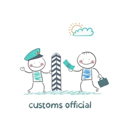Customs officer takes money from the man vector
