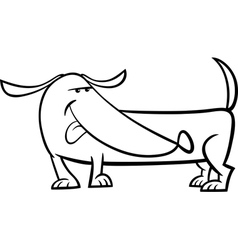 Dachshund dog cartoon coloring page vector