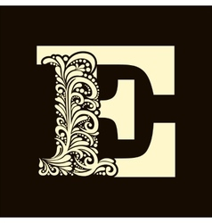 Elegant capital letter E in the style Baroque vector image