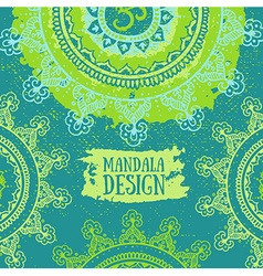 Green Mandala background Round Ornament Pattern vector image