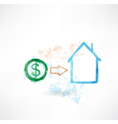 House money grunge icon vector