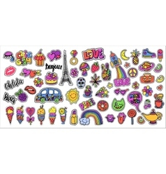 Huge set of patch badges with lips hearts Eiffel vector image
