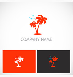 palm tree seagul tropic logo vector image vector image