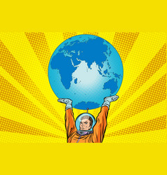 retro astronaut is holding the planet earth vector image vector image