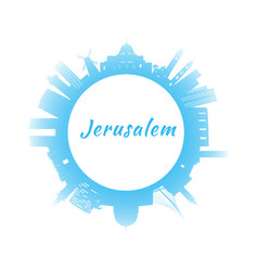 Silhouette jerusalem skyline with blue buildings vector