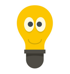 smiling light bulb with eyes icon isolated vector image vector image