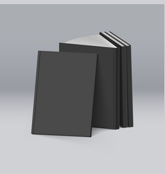 Stack of blank black books on mockup template vector