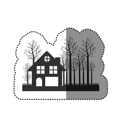 sticker of black silhouette of cottage in the vector image