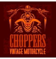 Vintage bikers badge retro chopper bike vector