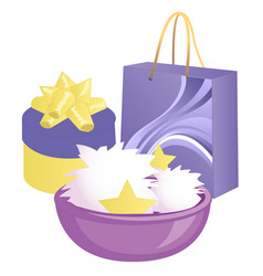 With gift box gift wrapping surprise isolated vector