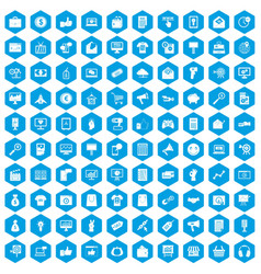 100 internet marketing icons set blue vector