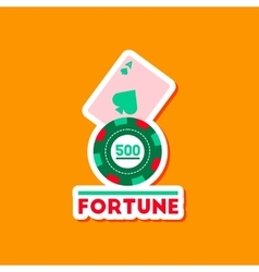 Paper sticker on stylish background poker fortune vector