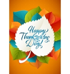 Happy thanksgiving day calligraphy greeting leaf vector