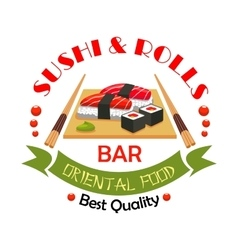 Sushi bar japanese food restaurant sign design vector
