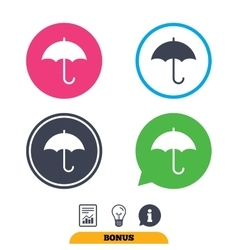 Umbrella sign icon Rain protection symbol vector image