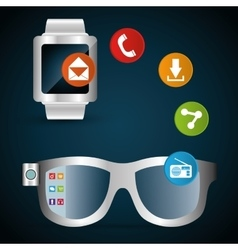 Smart glasses watch share information network vector