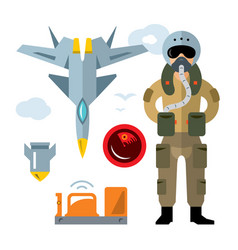 Air force pilot flat style colorful vector