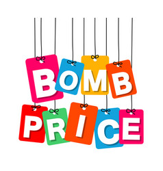 Colorful hanging cardboard tags - bomb vector
