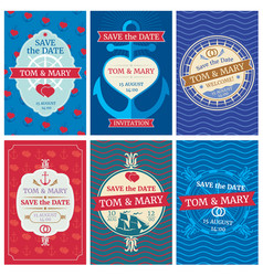 Wedding invitation cards with nautical vector