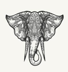 elephant head zentangle vector image