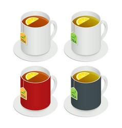 isometric set of multicolored ceramic cups vector image