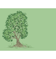 Tree on a green background vector