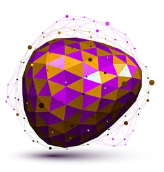 Purple distorted 3d abstract object with lines and vector