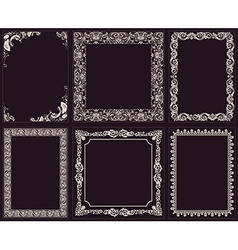 Calligraphic frames set baroque ornament and vector
