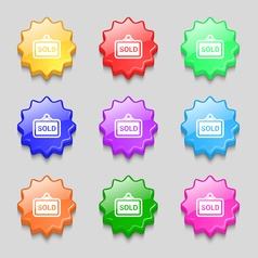 Sold icon sign symbol on nine wavy colourful vector