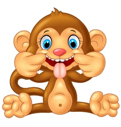 Cartoon monkey making a teasing face vector