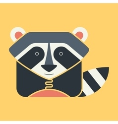 Flat square icon of a cute raccoon vector