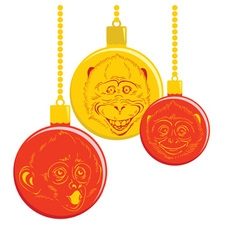 Christmas balls with a picture of a monkey vector