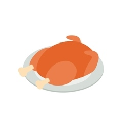 Fried turkey isometric 3d icon vector