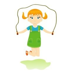 Little girl jumping rope vector
