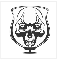 Skull in glass - alcohol addiction vector
