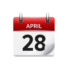 April 28 flat daily calendar icon date vector