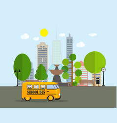 Back to school background with yellow bus vector