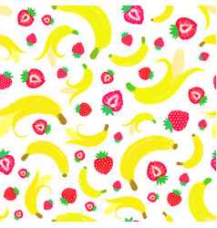 Banana strawberry background painted pattern vector