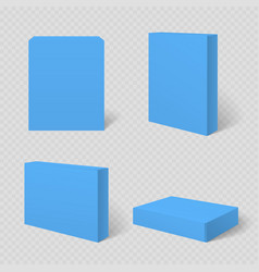 blue blank cardboard package box template vector image