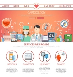 Cardiology Flat Page vector image vector image