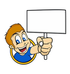 cartoon holding blank sign vector image vector image