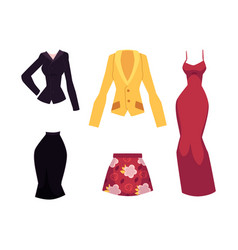 cartoon woman outfit apparel set vector image vector image