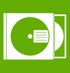 Cd box with disc icon green vector