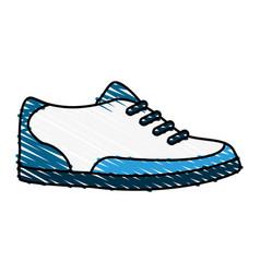Color crayon stripe cartoon golf shoes port vector