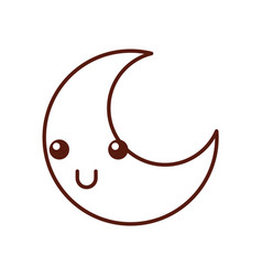 Cute moon kawaii character vector