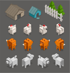 Fox chicken end dog character 3d isometric set for vector