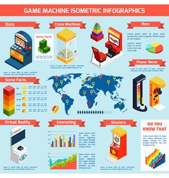 Game amusement machines isometric infographics vector