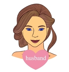 Girl with husband in heart vector image