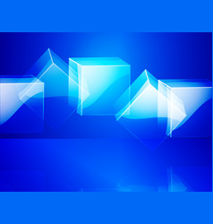 Glass cubes over blue background vector